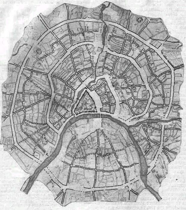 (линии укреплений города и